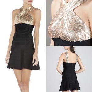 """NWT Herve Leger """"Amalli"""" Gold Black Bandage Dress"""